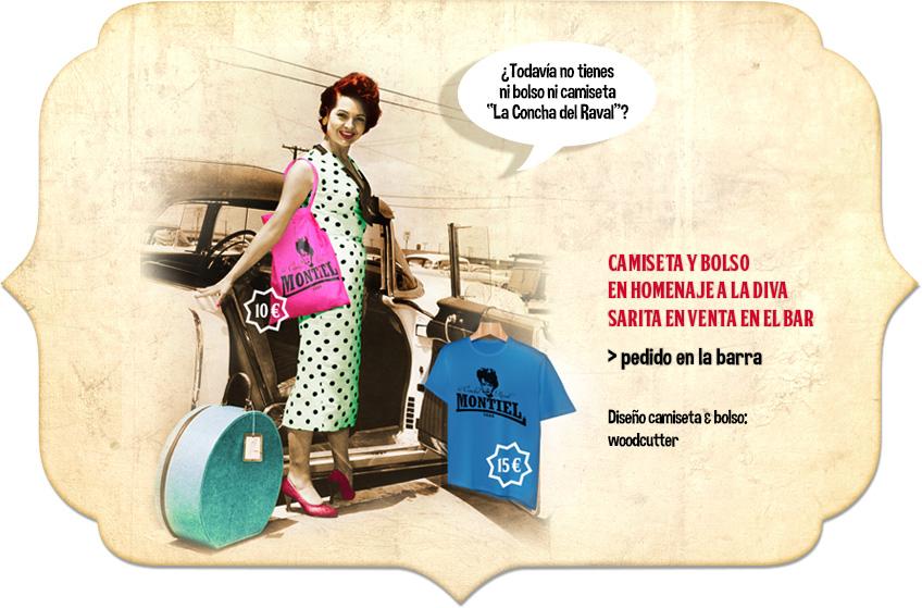 """Souvenirs guays """"Sara Montiel"""" en venta en La Concha del Raval. Cool souvenir """"Sara Montiel"""": shirt and bag sold in La Concha del Raval"""
