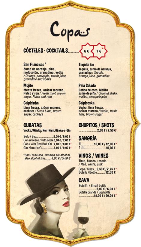 Carta de copas de La Concha del raval. Cocktails in La Concha del Raval