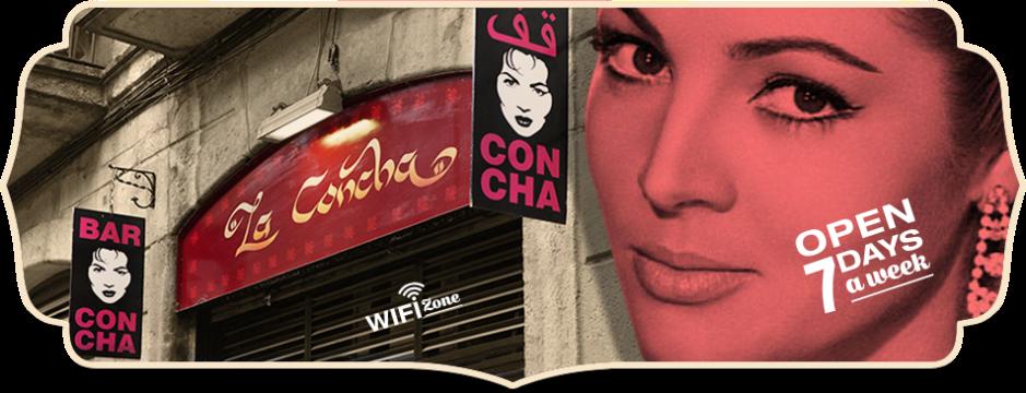 Pancarta del bar La Concha del Raval. La Concha del Raval sign